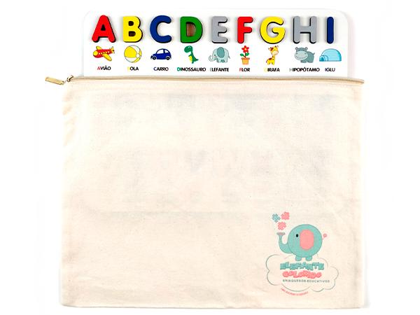 Brinquedo Educativo Pedagógico Alfabeto Ilustrado Português em MDF  - Elefante Colorido Brinquedos Educativos