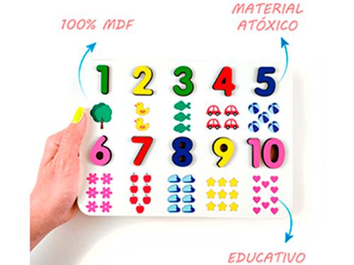 Brinquedo Educativo Pedagógico Numeral Ilustrado em MDF  - Elefante Colorido Brinquedos Educativos