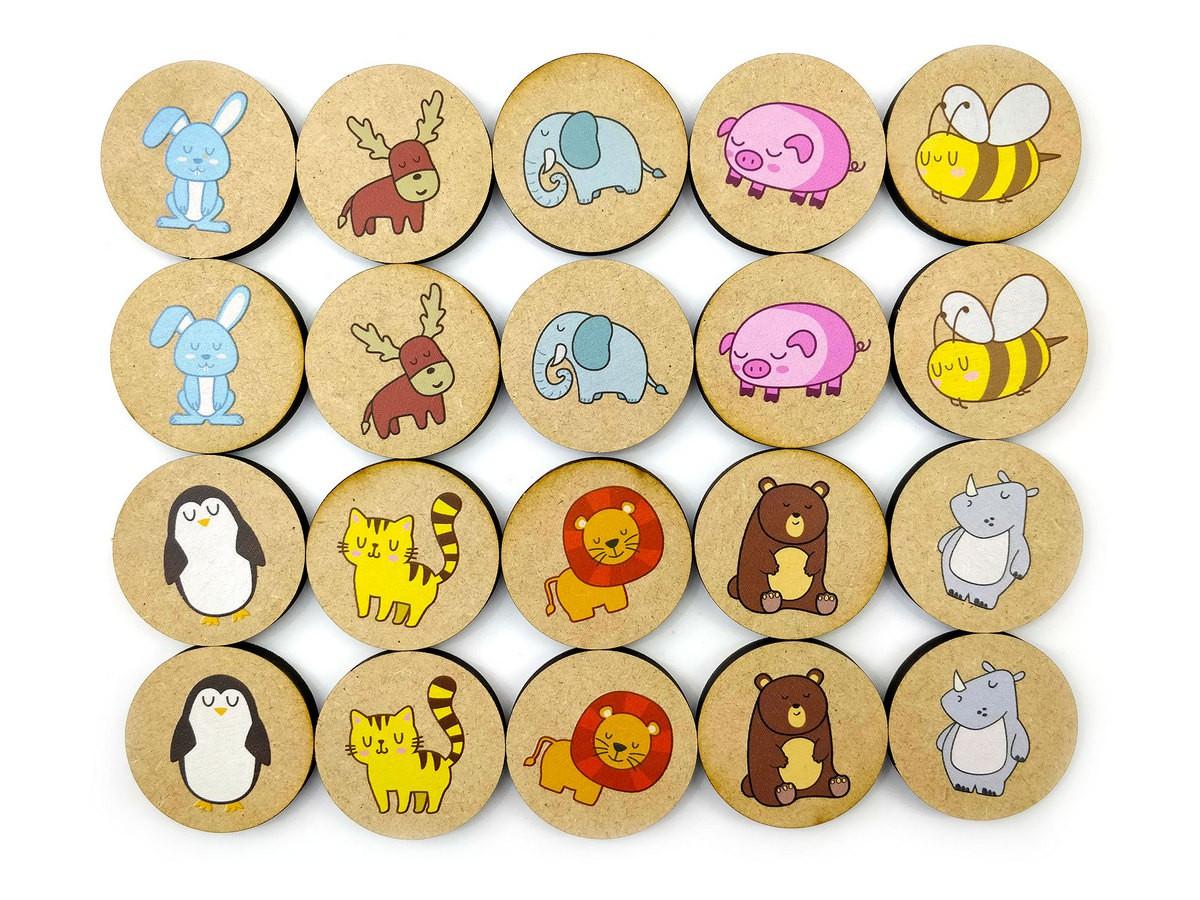 Jogo da Memória Animais - Brinquedo Educativo em Madeira  - Elefante Colorido Brinquedos Educativos
