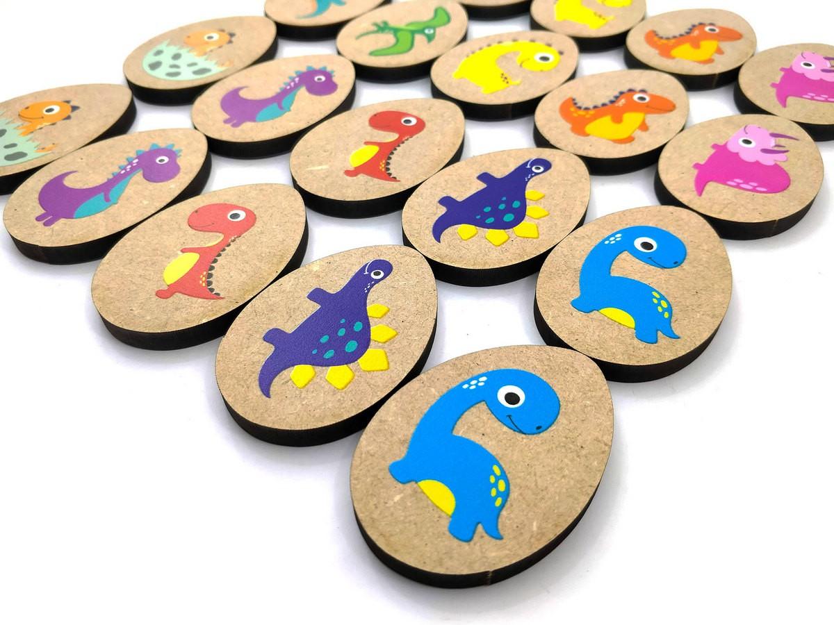 Jogo da Memória Dinossauros - Brinquedo Educativo em Madeira  - Elefante Colorido Brinquedos Educativos