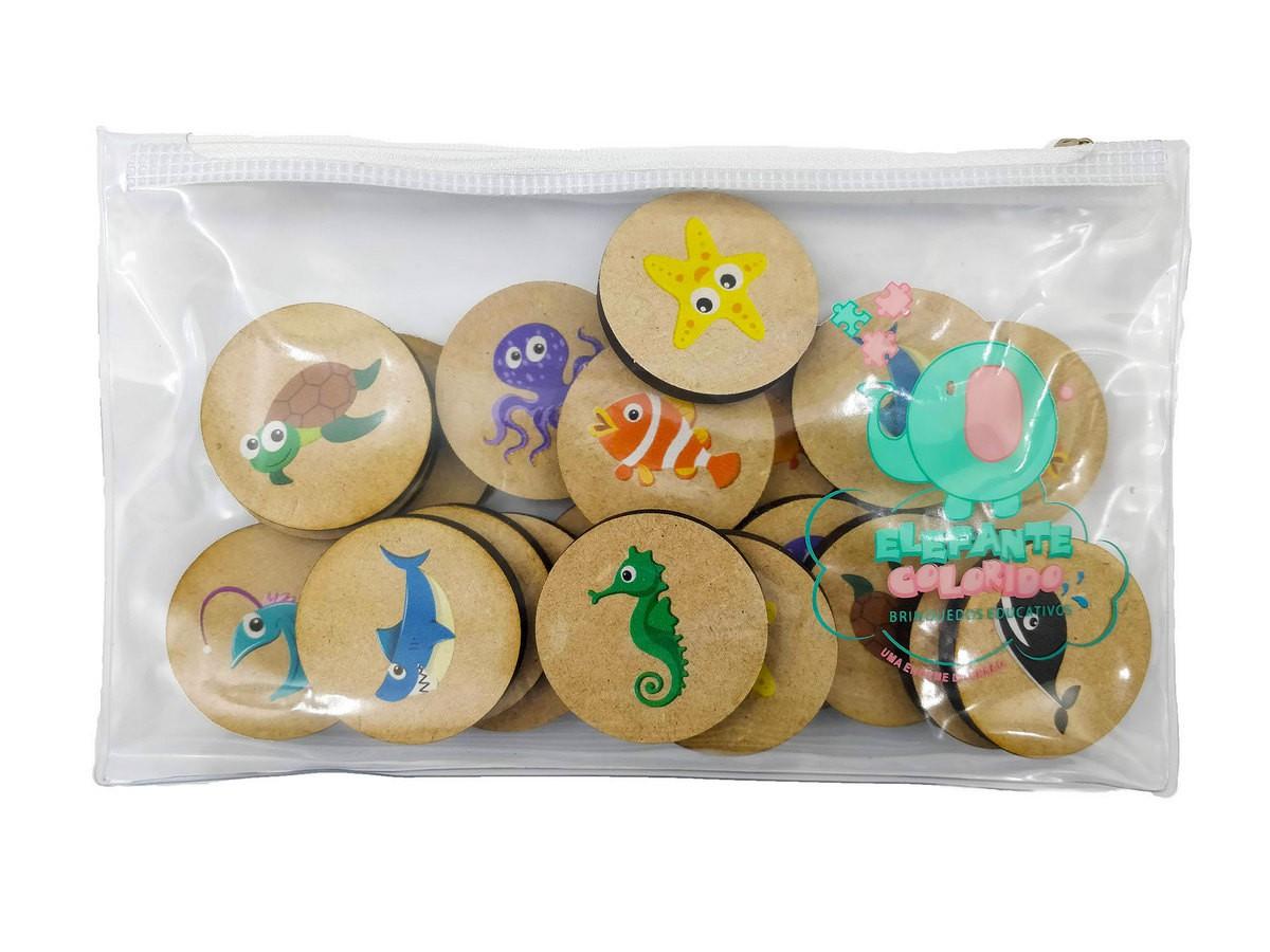 Jogo da Memória Fundo do Mar - Brinquedo Educativo em Madeira  - Elefante Colorido Brinquedos Educativos