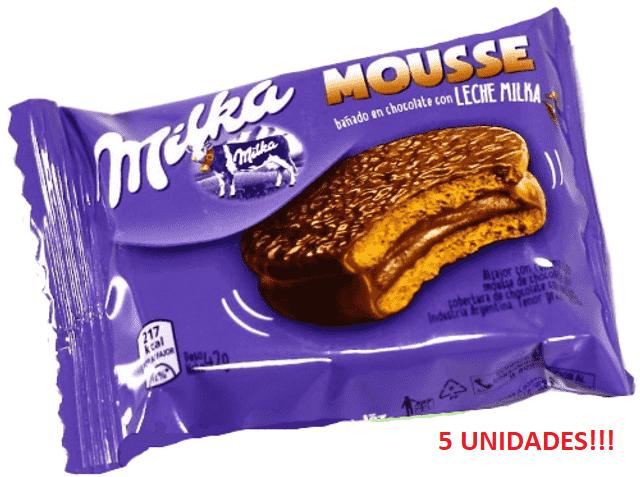 Alfajor Milka Mousse contendo 5 unidades de 42g cada