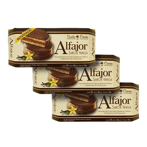 Alfajor Vanilla Sonho do Cacau contendo 3 caixas de 180g cada
