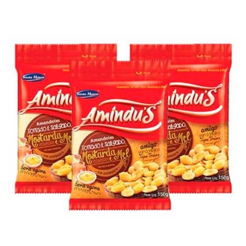 Amendoim Torrado de Mostarda e Mel Amíndus 3 pct de 110g
