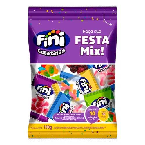 Bala de Gelatina Festa Mix Fini contendo 10 pacotes de 15g cada