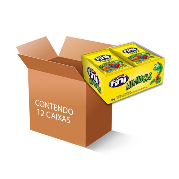 Bala Fini Minhocas contendo 12 caixas