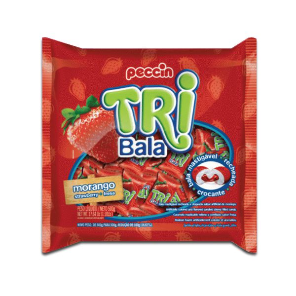 Bala Peccin TriBala Morango 500g