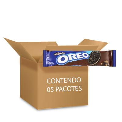 Biscoito Oreo Chocolate contendo 5 pacotes de 90g cada