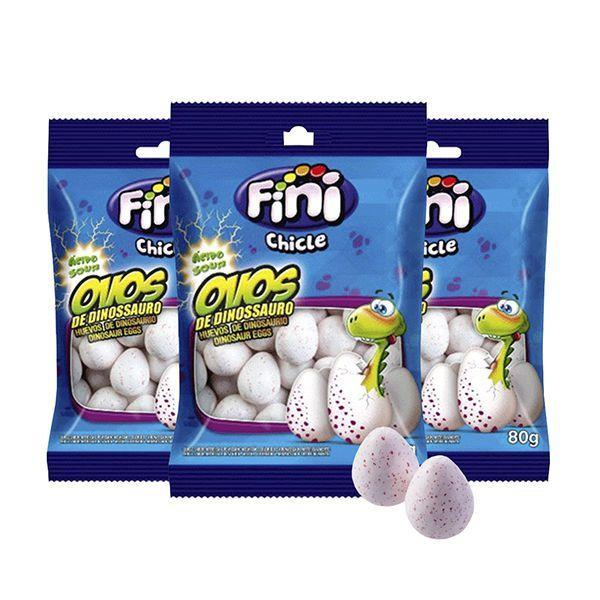 Chicle Fini Ácido Ovos de Dinossauro Contendo 3 Pacote de 80g cada
