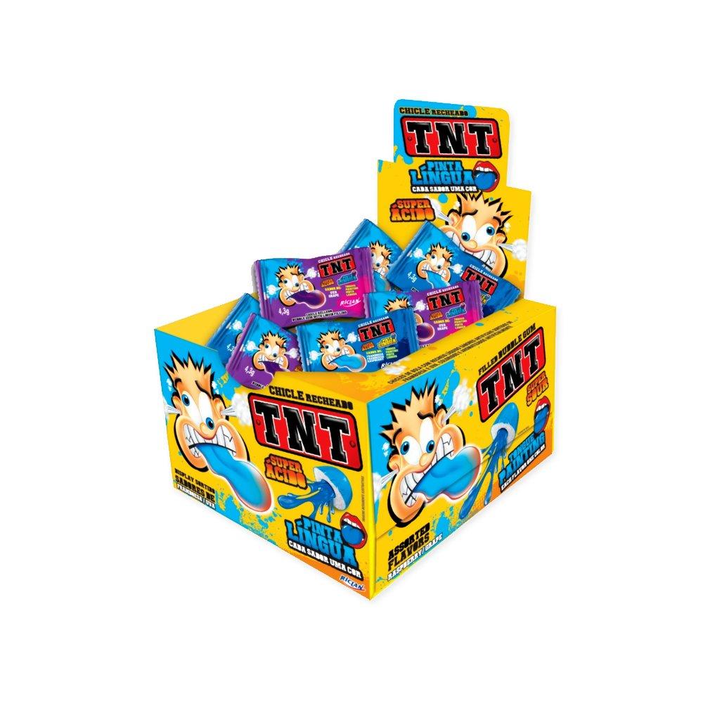 Chiclé Recheado TNT Pinta Língua Super Ácido Riclan contendo 40 unidades - 172g