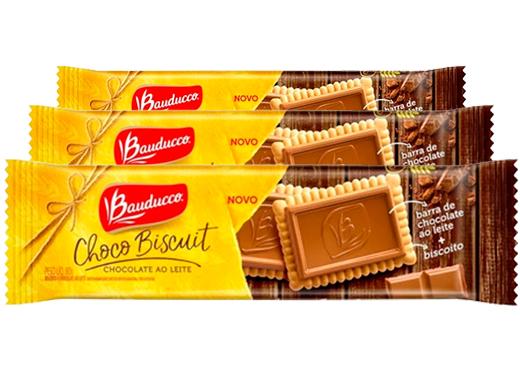 Choco Biscuit ao leite Bauducco contendo 3 pacotes de 80g cada