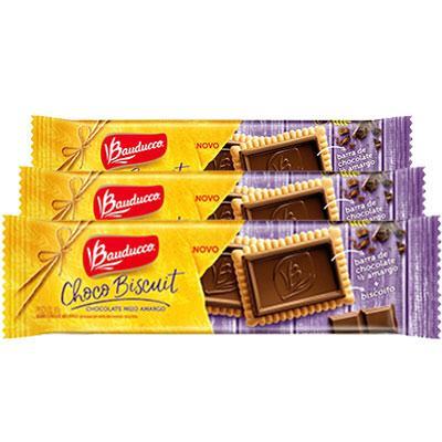 Choco Biscuit meio amargo Bauduccco contendo 3 pacotes de 80g cada
