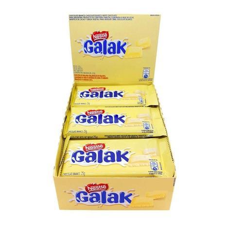 Chocolate Galak Branco Nestlé contendo 22 unidades de 25g cada