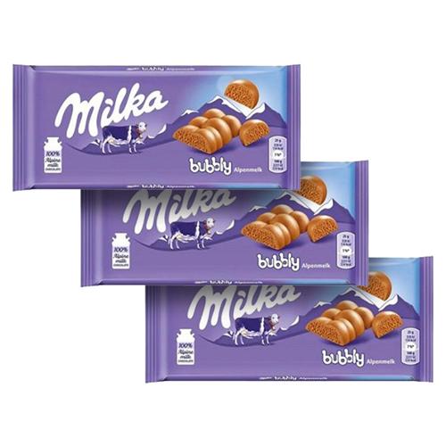 Chocolate Milka Bubbly Alpine Milk 3un de 90g cada