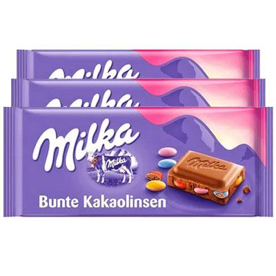 Chocolate Milka Bunte Kakaolinsen contendo 3 tabletes de 100g cada