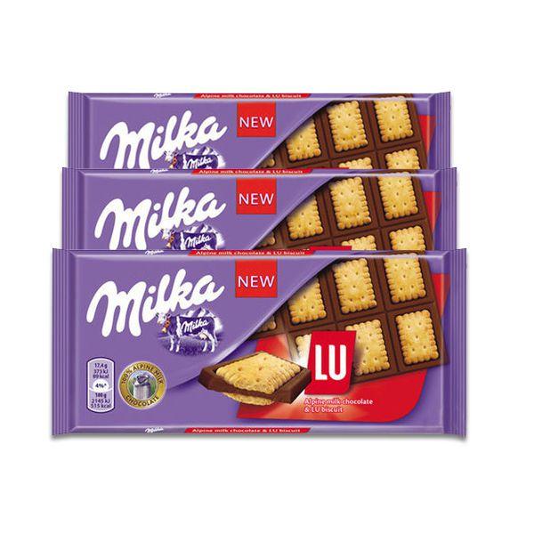 Chocolate Milka Lu Biscoito e Chocolate Alpen Milkch contendo 3 tabletes de 87g cada