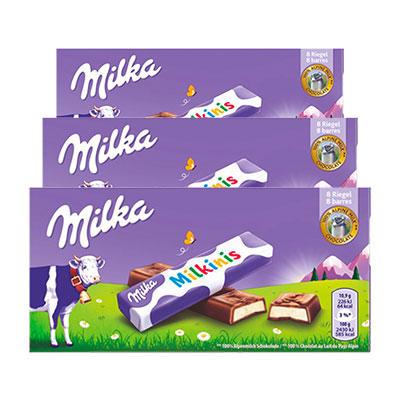 Chocolate Milka Milkinis contendo 3 tabletes de 87,5g cada