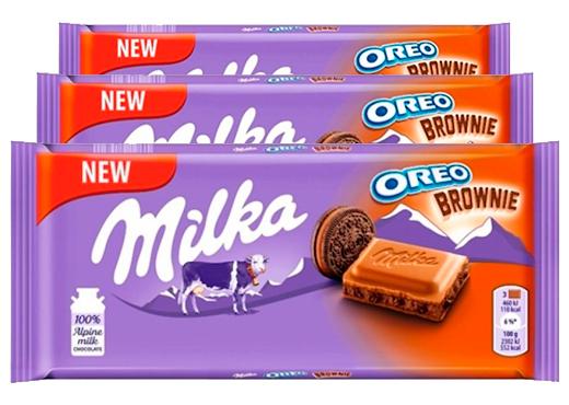 Chocolate Milka Oreo Brownie contendo 3 barras de 100g cada