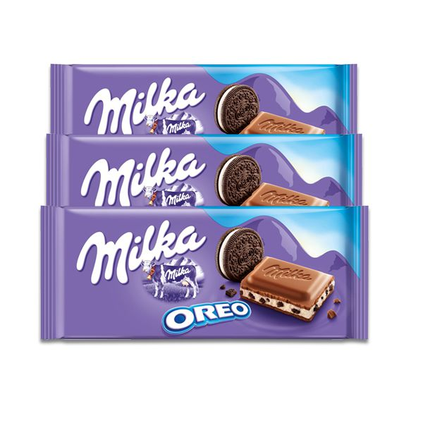 Chocolate Milka Oreo contendo 3 un de 100g cada