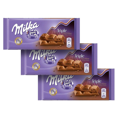 Chocolate Milka Triple Choco Cocoa contendo 3 tabletes de 90g cada