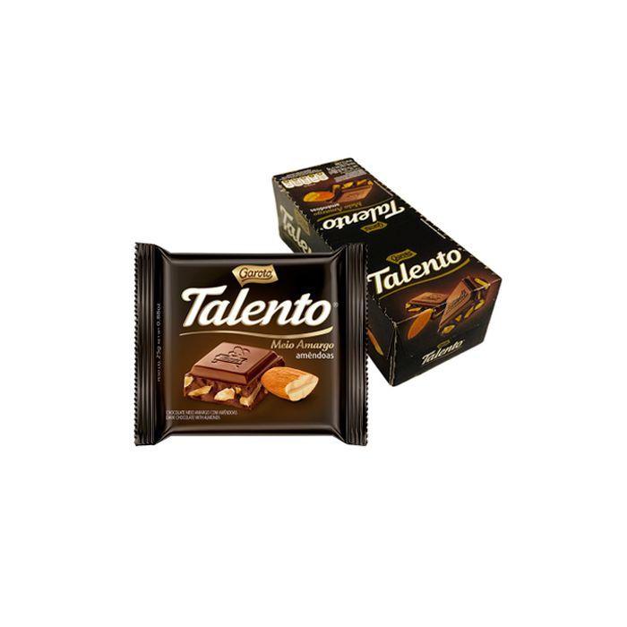 Chocolate Talento Meio Amargo Amêndoas com 15 unidades de 25g cada Garoto