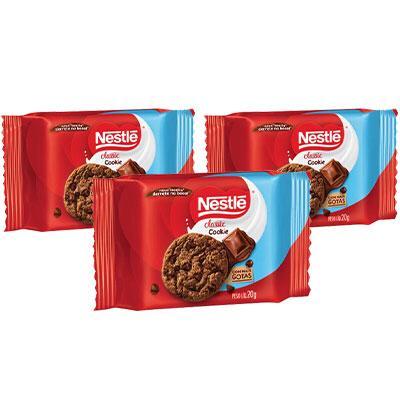 Cookies Classic Chocolate Nestlé 60g - 3 pacotes de 20g cada