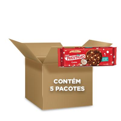 Cookies Prestígio Nestlé 60g - contendo 5 packs com 3 pacotes de 20g cada