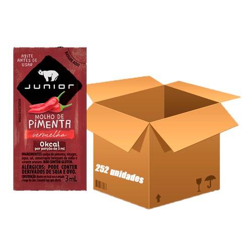 Molho de Pimenta Sachê Junior contendo 252 unidades de 3ml cada