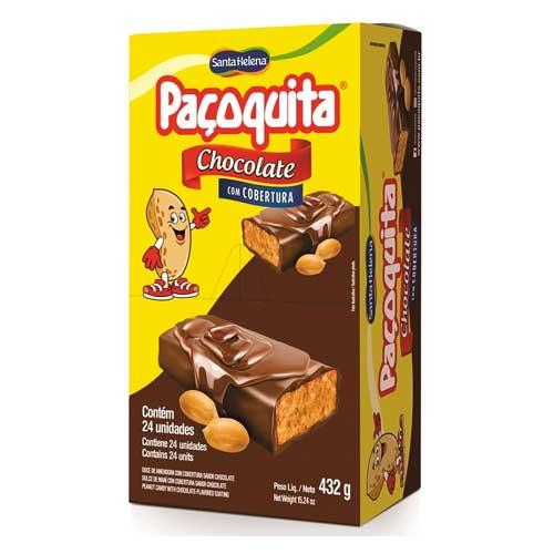 Paçoquita coberta com Chocolate Santa Helena contendo 24 unidades