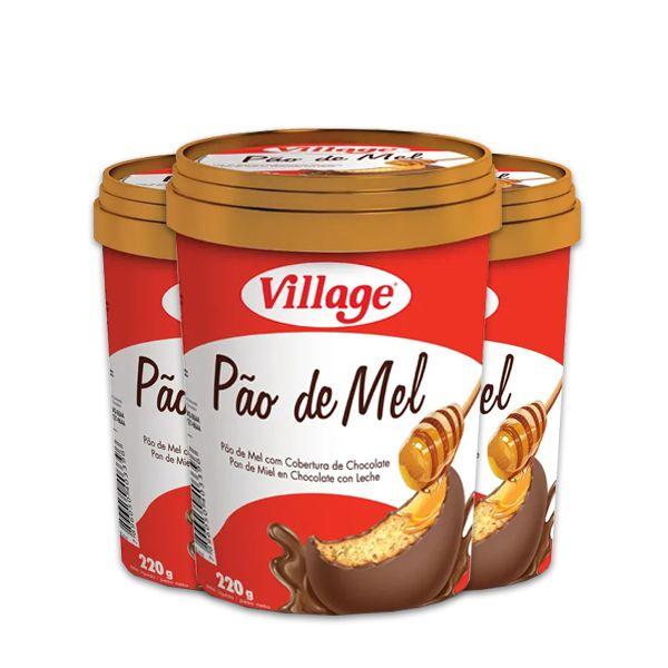 Pote Pão de Mel Village 220g contendo 3 unidades