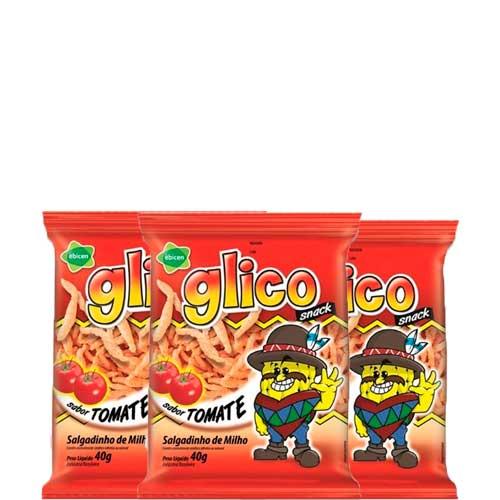 Salgadinho Glico Tomate contendo 3 pacotes de 40g cada