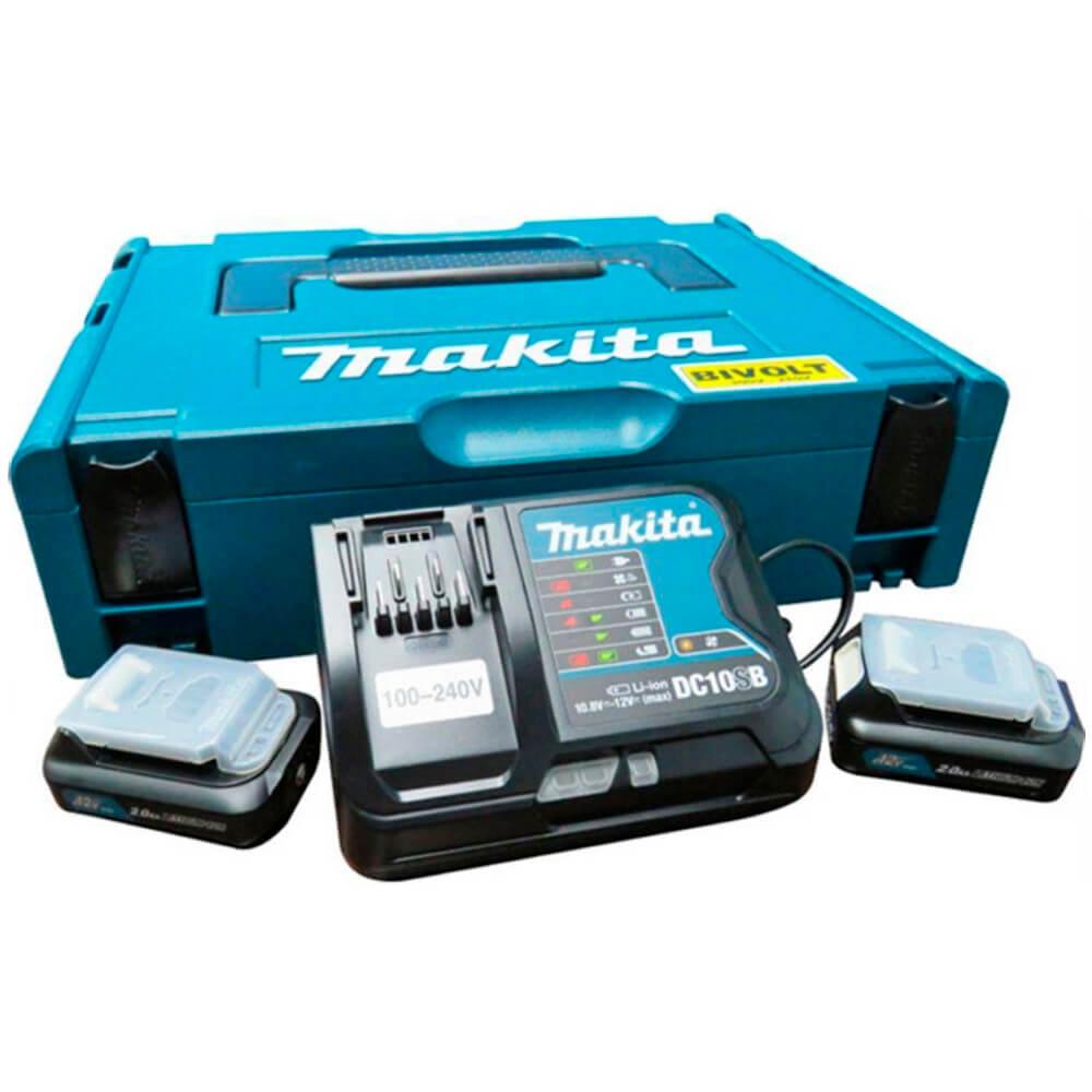 KIT MAKPAC TIPO 1 - 2 BAT. 12V 2.0AH+1 CARREGADOR + MALETA - 197656-9 (MAKITA)