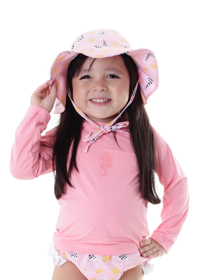 Blusa de Proteção Infantil FPS50 Manga Longa Rosa Tam. P