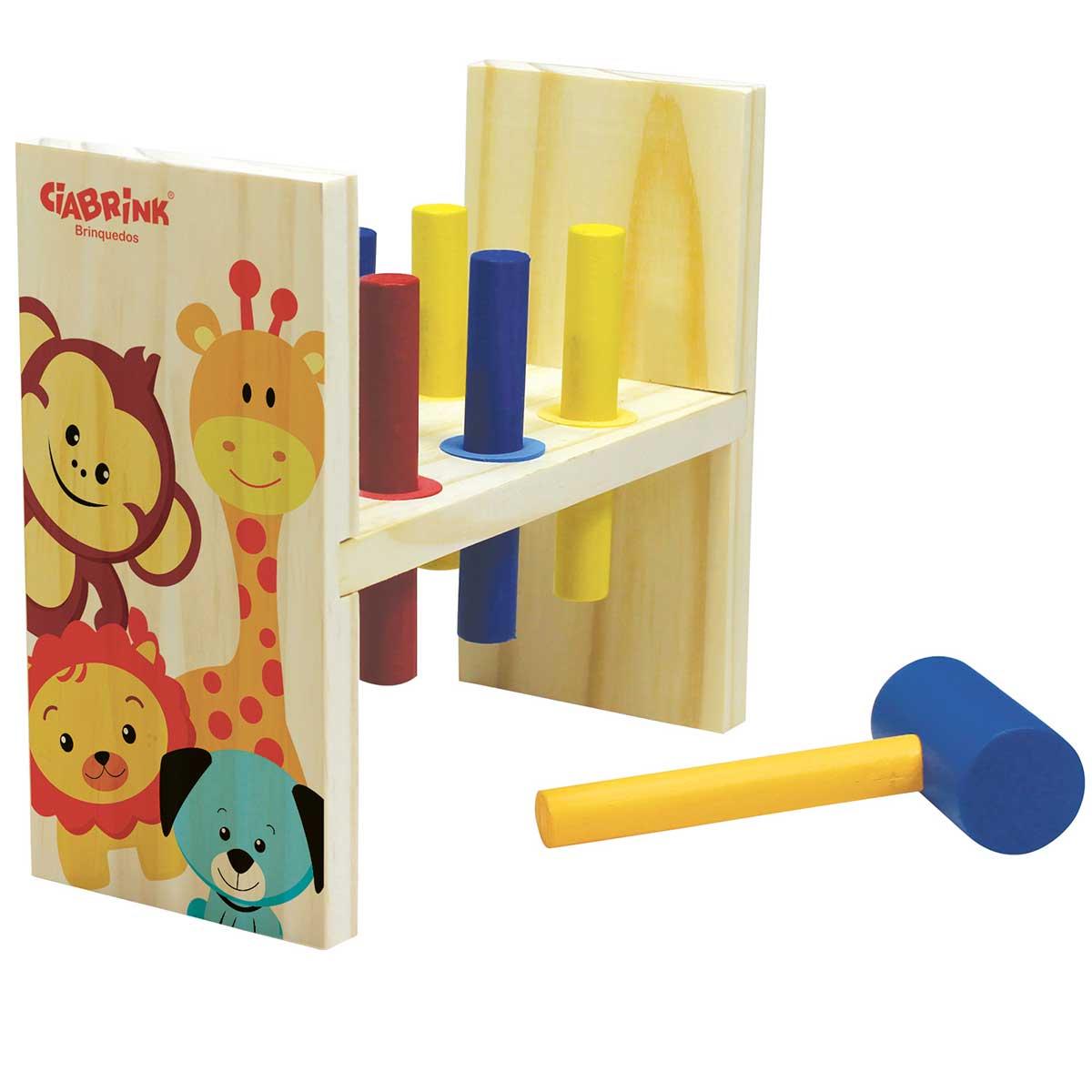 Brinquedo de Madeira Educativo Bate Martelo 7 Peças CiaBrink