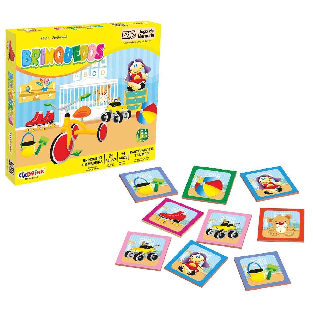 Jogo da Memória Brinquedos com Caixa de Madeira CiaBrink