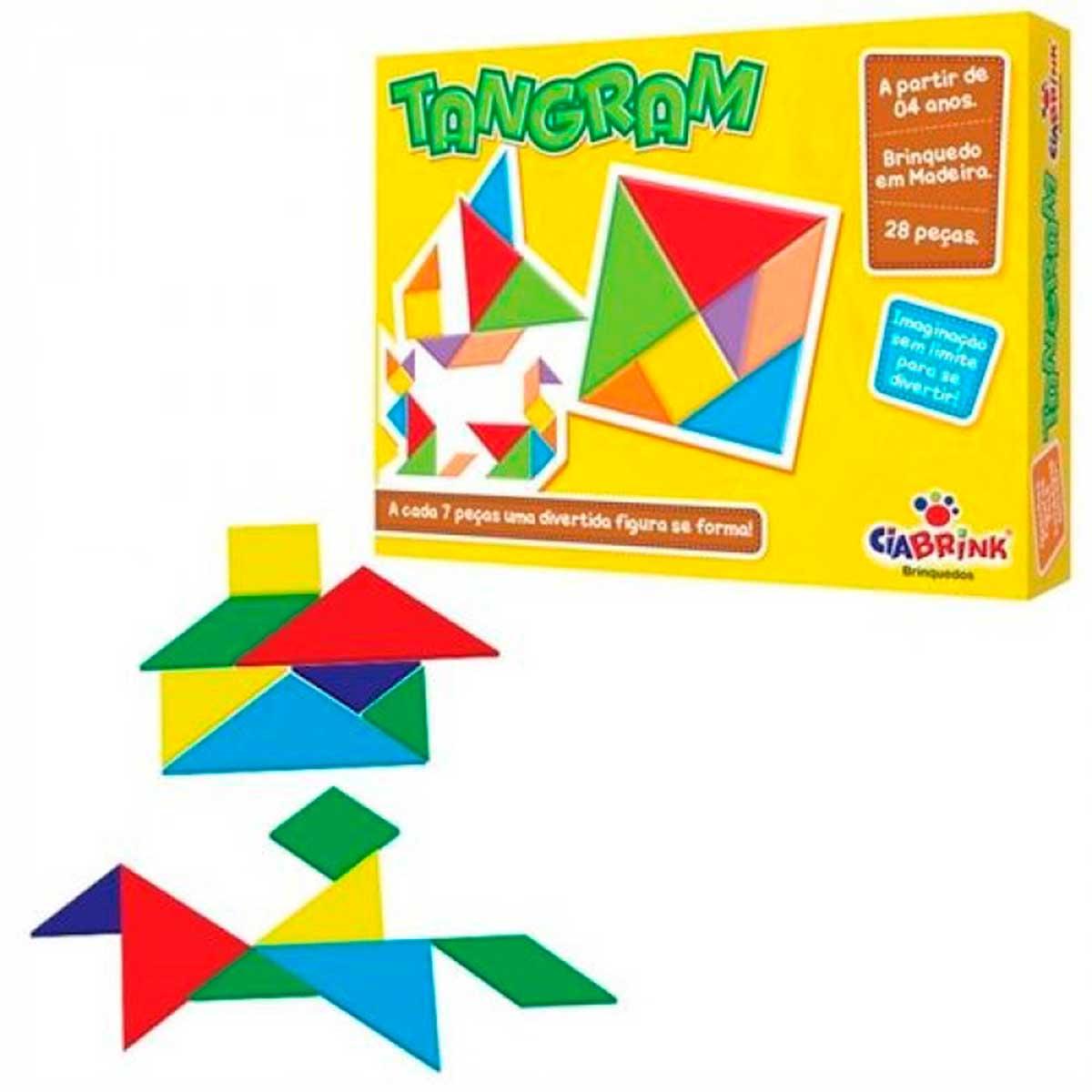 Jogo Tangram Colorido 28 Peças em Madeira CiaBrink