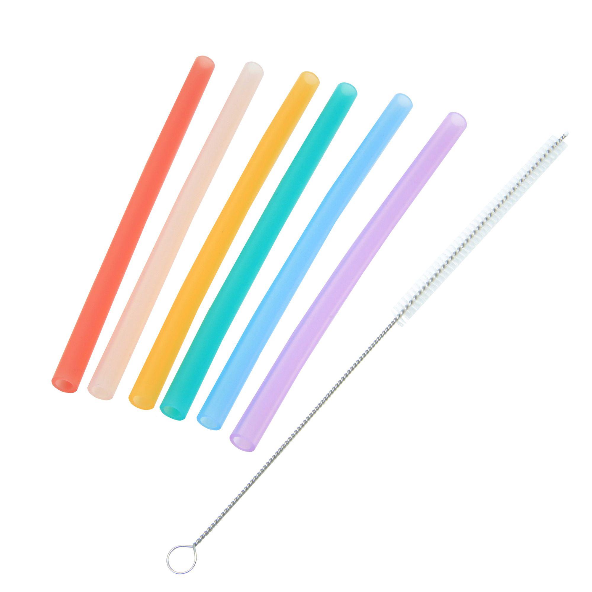Kit 6 Canudos Coloridos em Silicone com Escova