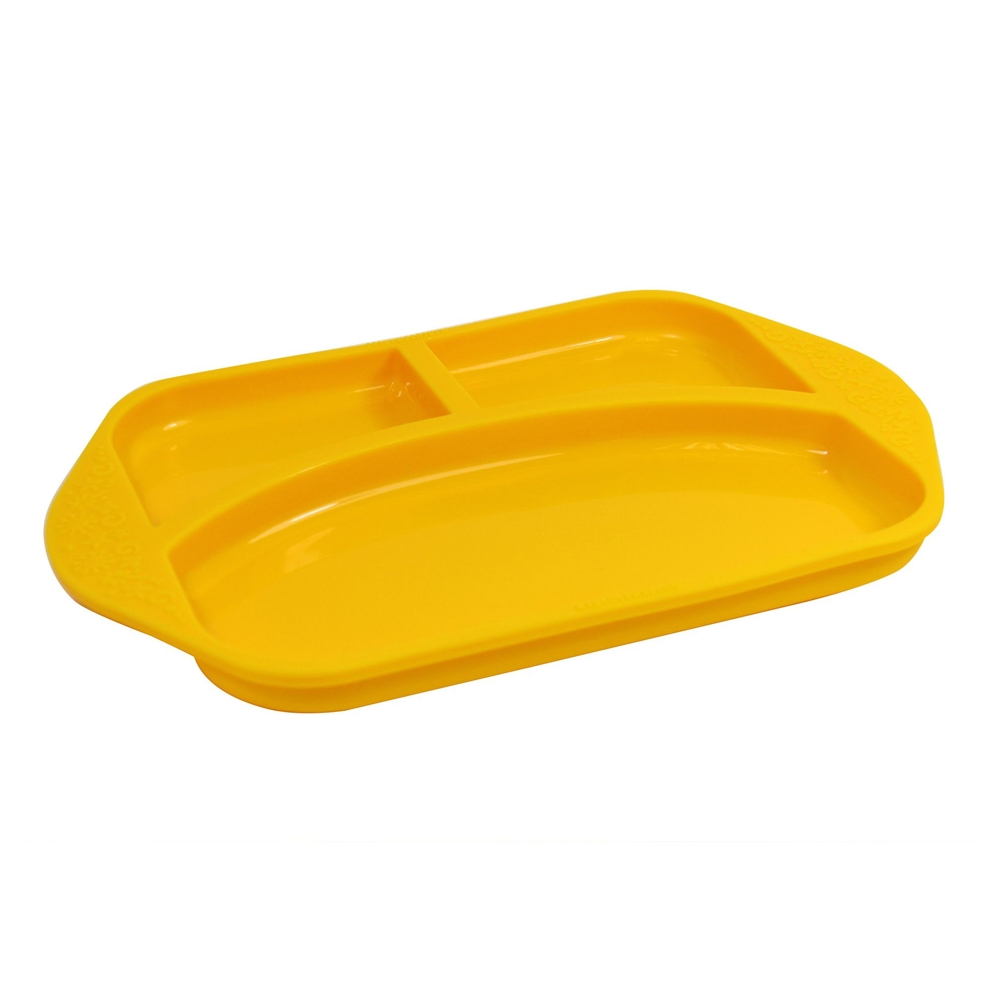 Prato com Divisória em Silicone - Amarelo