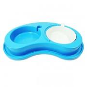 Comedouro Plastico Anti-Formiga Luxo Duplo Pequeno-Azul