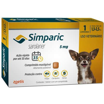 Antipulgas Simparic 5mg - 1,3 a 2,5kg