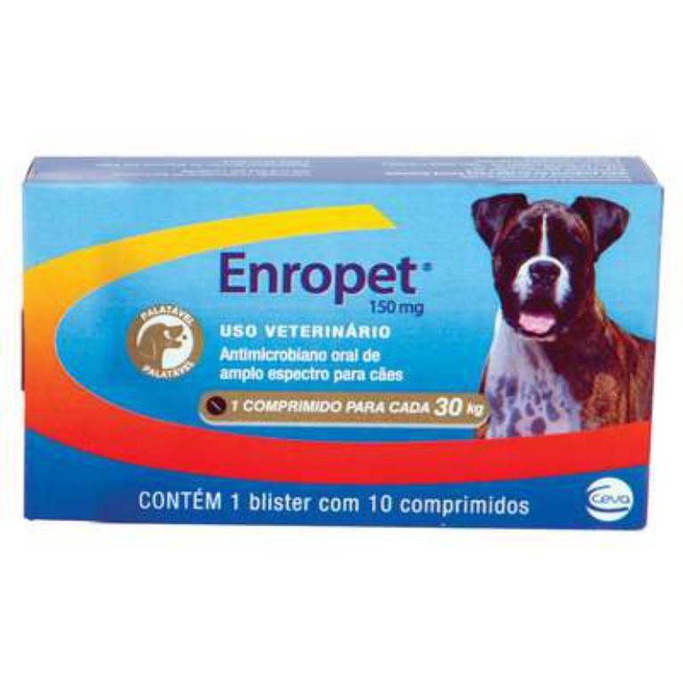 Enropet 150mg - Cx. com 10 comprimidos