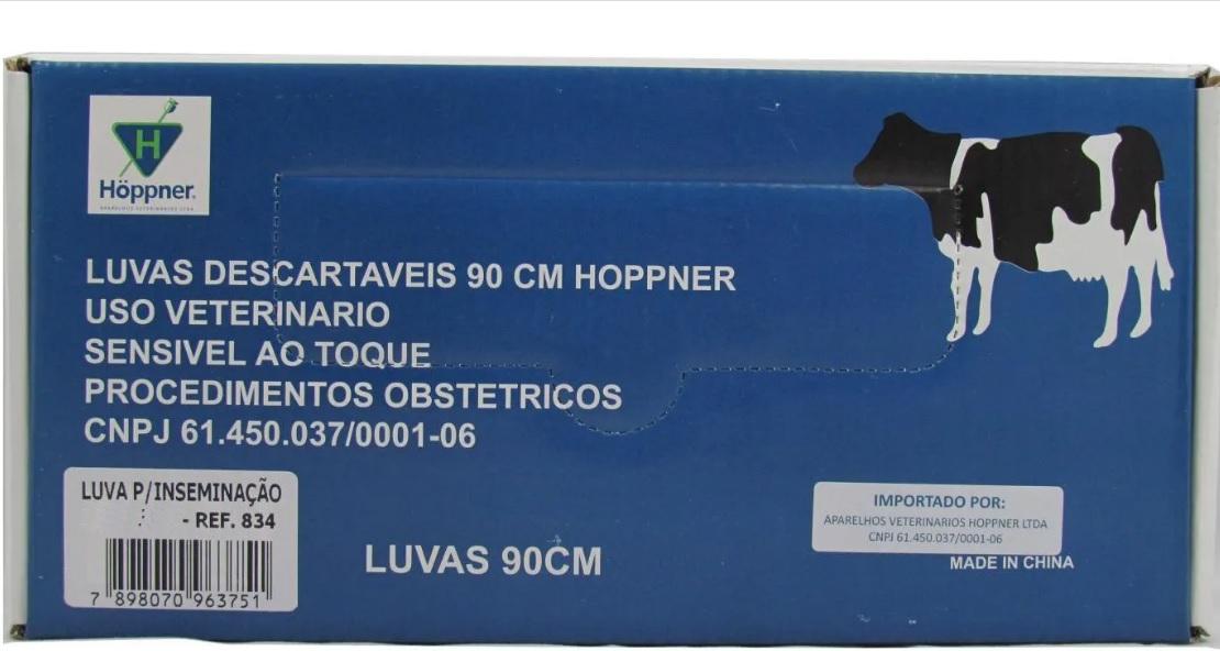 Luva para inseminação Hoppner 90cm - Caixa com 25 un.