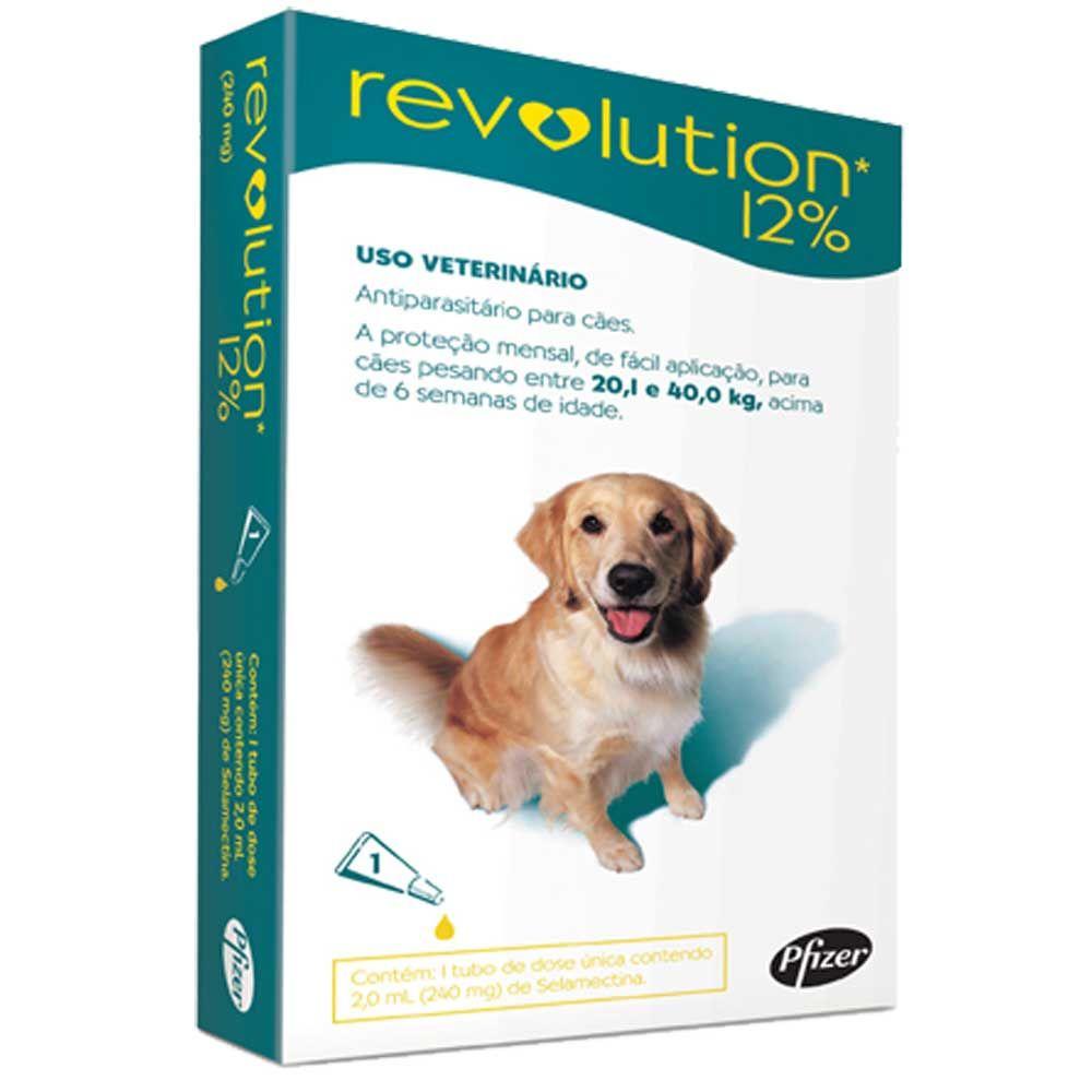 Revolution 12% para Cachorros 20kg a 40kg Cx. com 1 - 3 pipetas