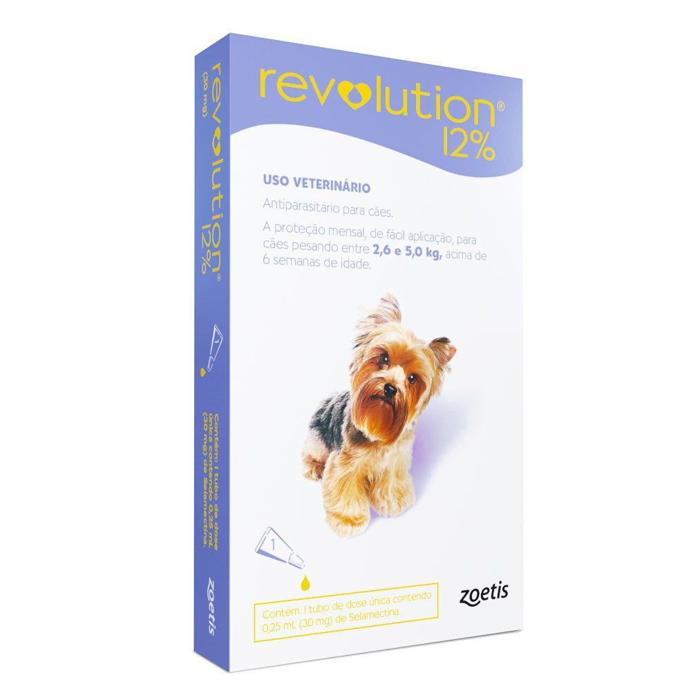 Revolution Cx. com 1 e 3 pipetas  - 12% para cachorros 2,5kg a 5kg