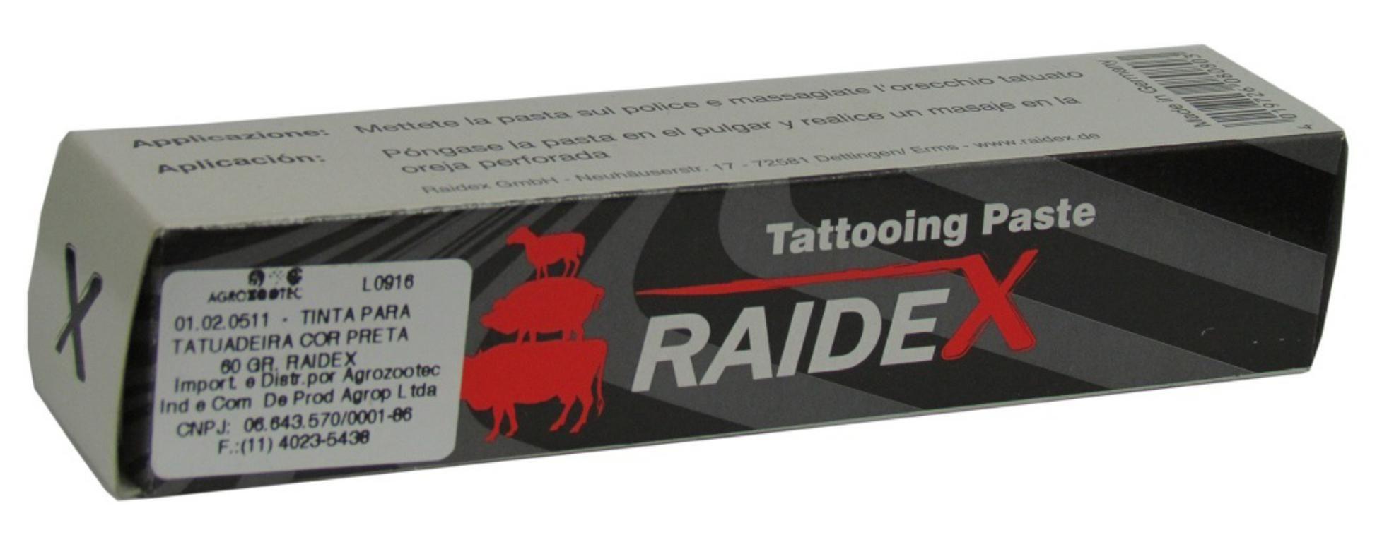 Tinta para Tatuadeira Raidex Preta - Tubo 60g