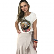 Kit Saia Midi Babados e Blusa Nossa Senhora Aparecida - Encontro da Imagem