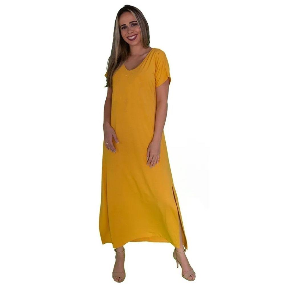 Vestido Longo Amarelo com Fendas