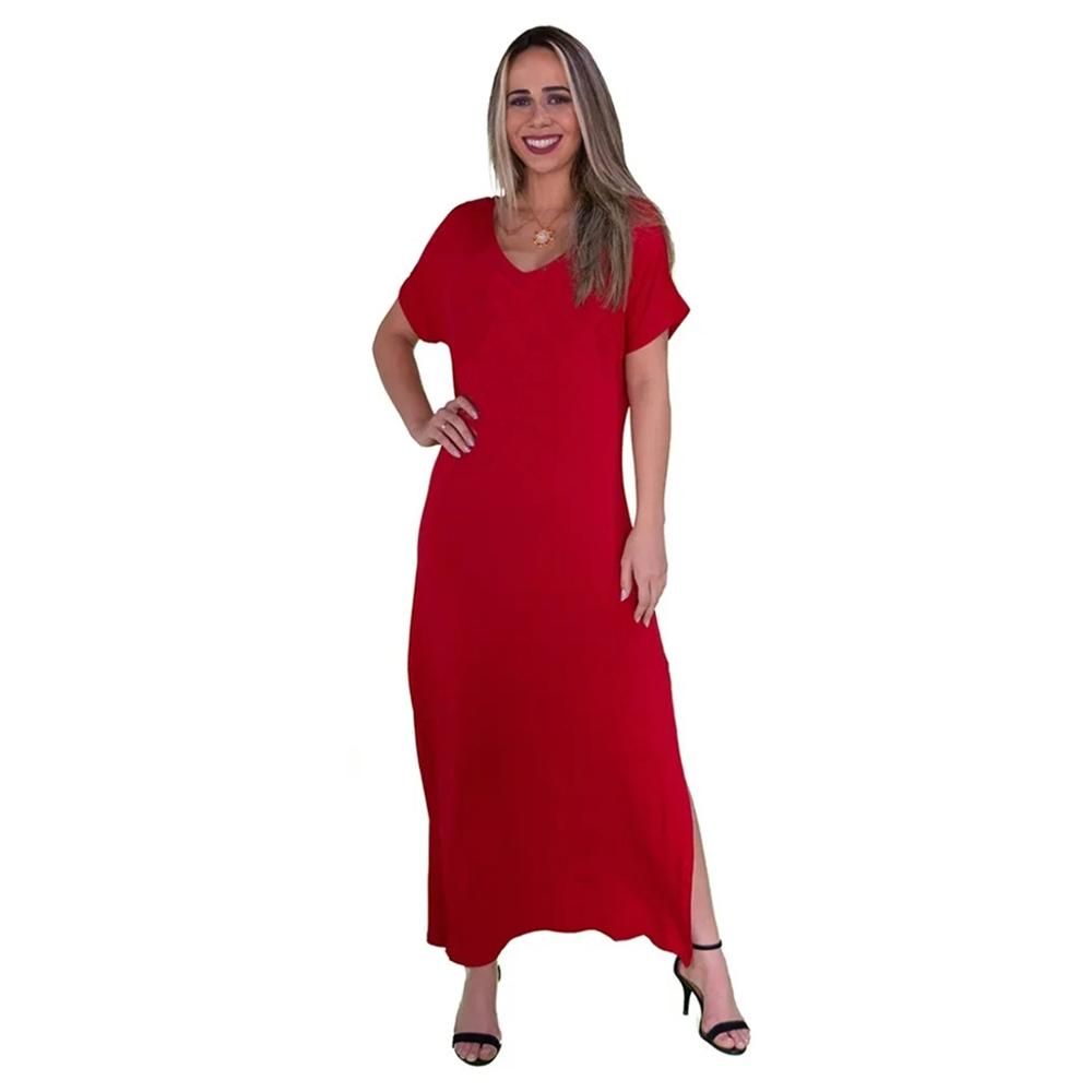 Vestido Longo Vermelho com Fendas