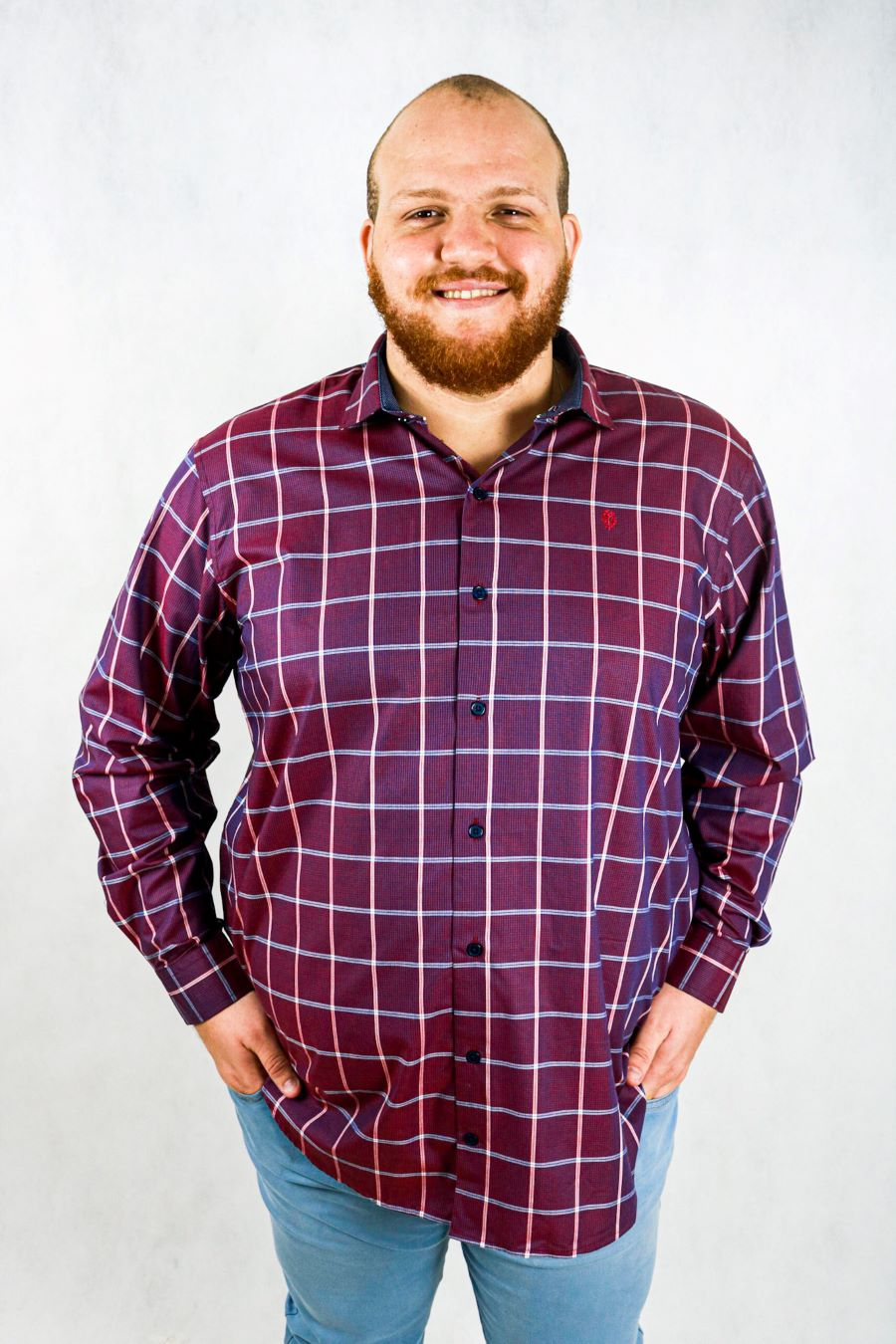 Camisa obeland+ fio tinto xadrez m/l col casual