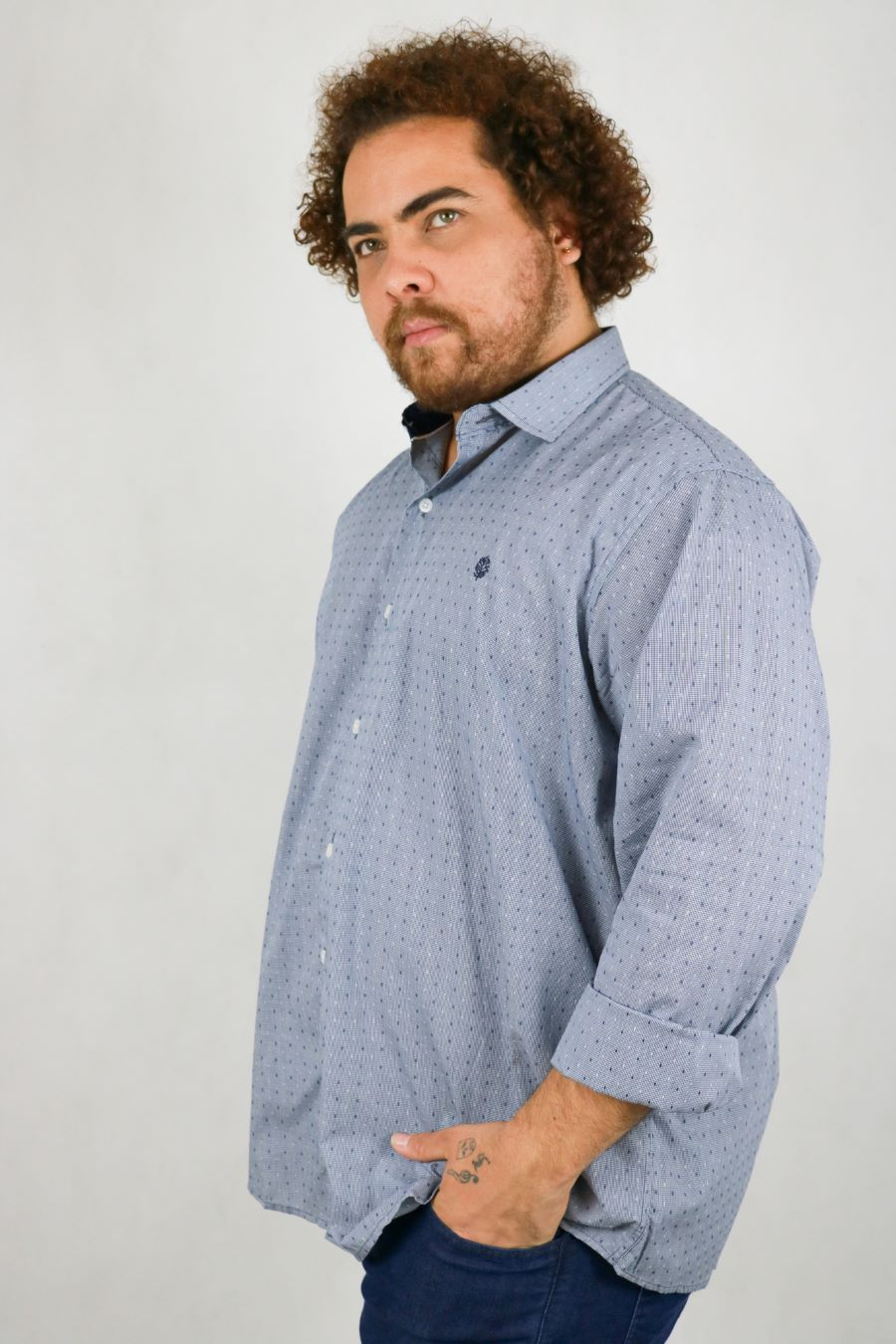 Camisa Obeland m/l maquinetada poa Plus Size